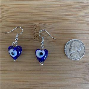 evil eye heart earring